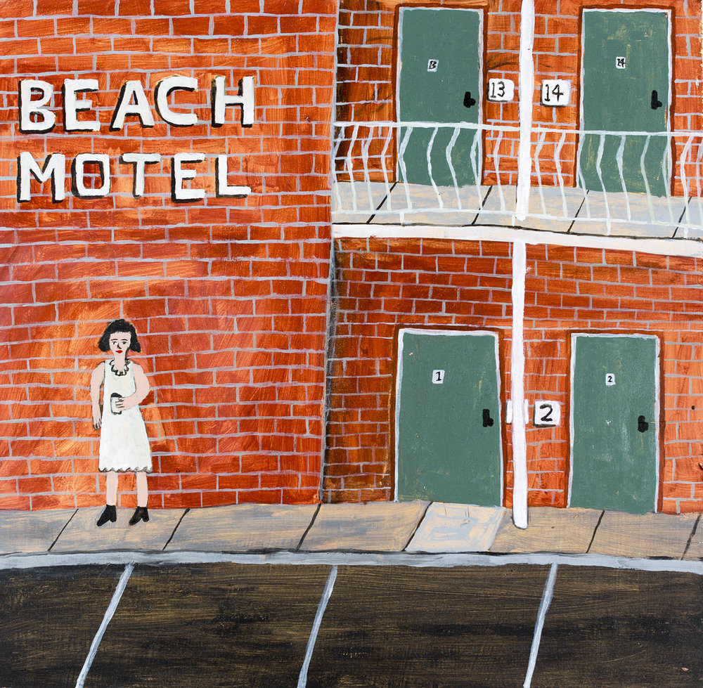 India at the Beach Motel, 2016, acrylic on plywood, 30 x 30cm