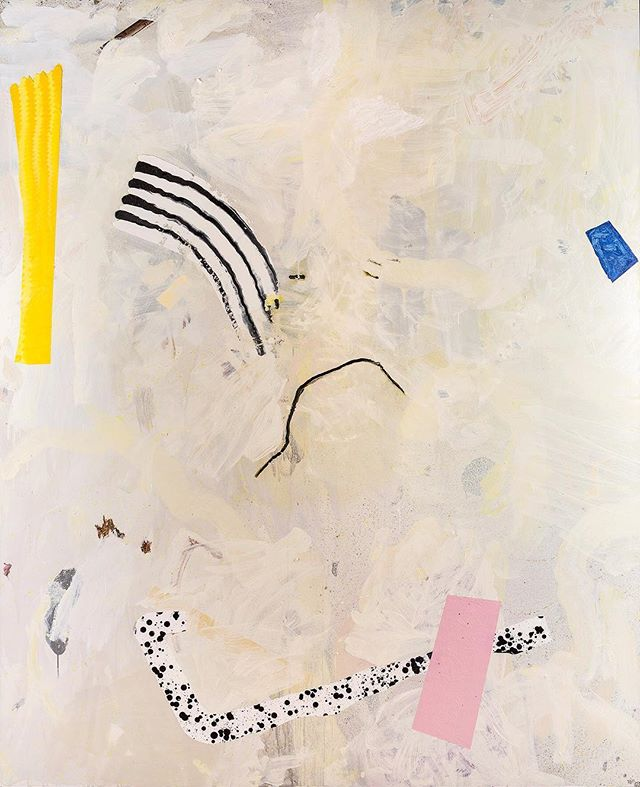 "Last days of ""Methods"" this week! Aaron Fell-Fracasso's exhibition ends this Saturday.  Image: Method 5 (Dalmatian and Zebra), 2018, oil, acrylic and pigmented ink on board, 182 x147.5cm. @fellfalafel 📷 @jessica_maurer_photography"