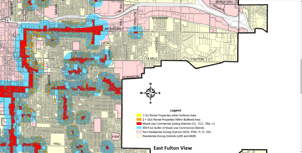 East Fulton View Showing in blue the 500 ft. Buffer.