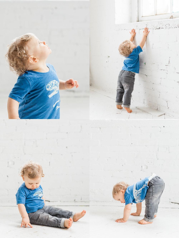Children studio session | exposed brick | natural light | Laurenda Marie Photography