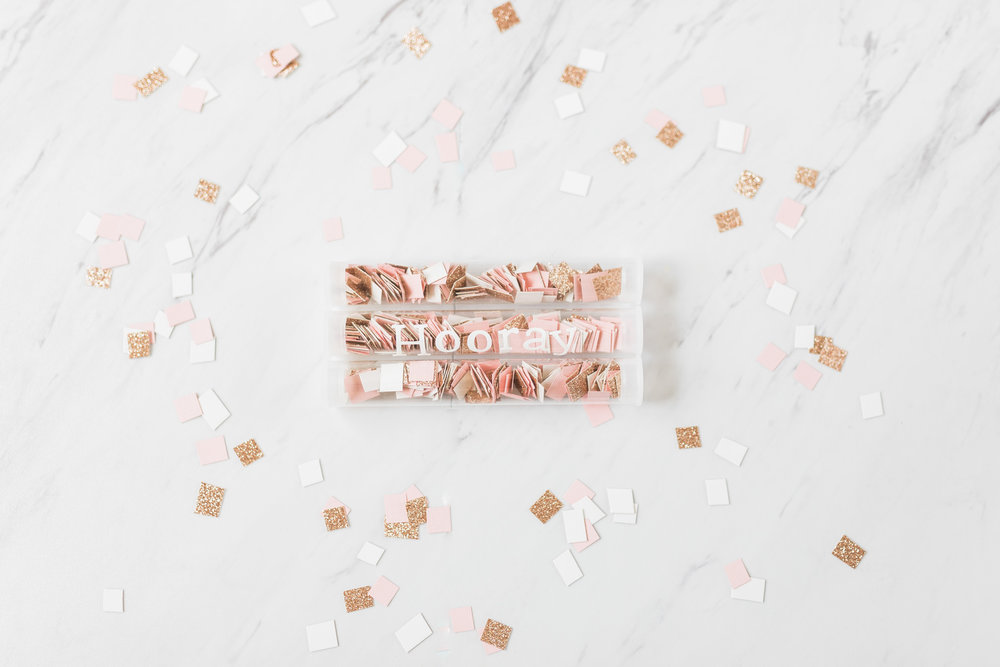 DIY Bride | Homemade Confetti | Rose gold glitter & Blush | Wedding Day Decor | Laurenda Marie Photography