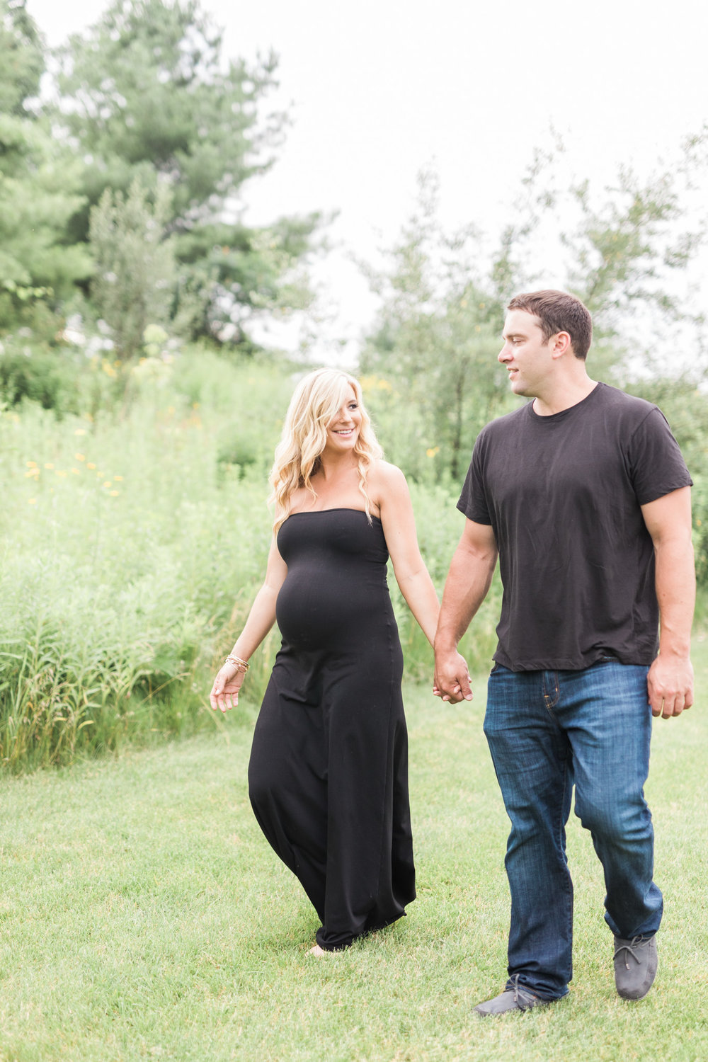 Outdoor couples maternity session   Pink and Black Maternity Maxi Dress   Laurenda Marie Photography