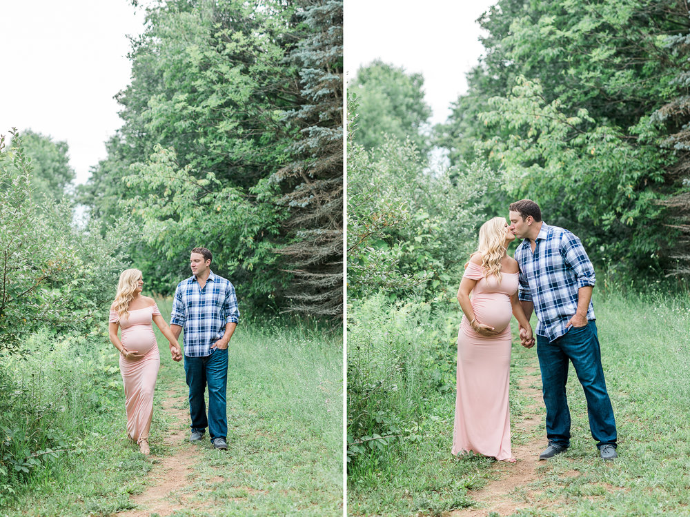 Outdoor couples maternity session | Pink and Black Maternity Maxi Dress | Laurenda Marie Photography