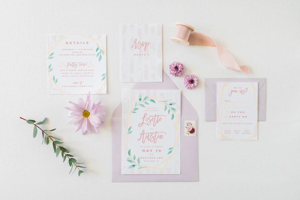 Styled Bridal Shoot | Invitation Suite | Flatlay Photography | West Michigan Wedding Photographer
