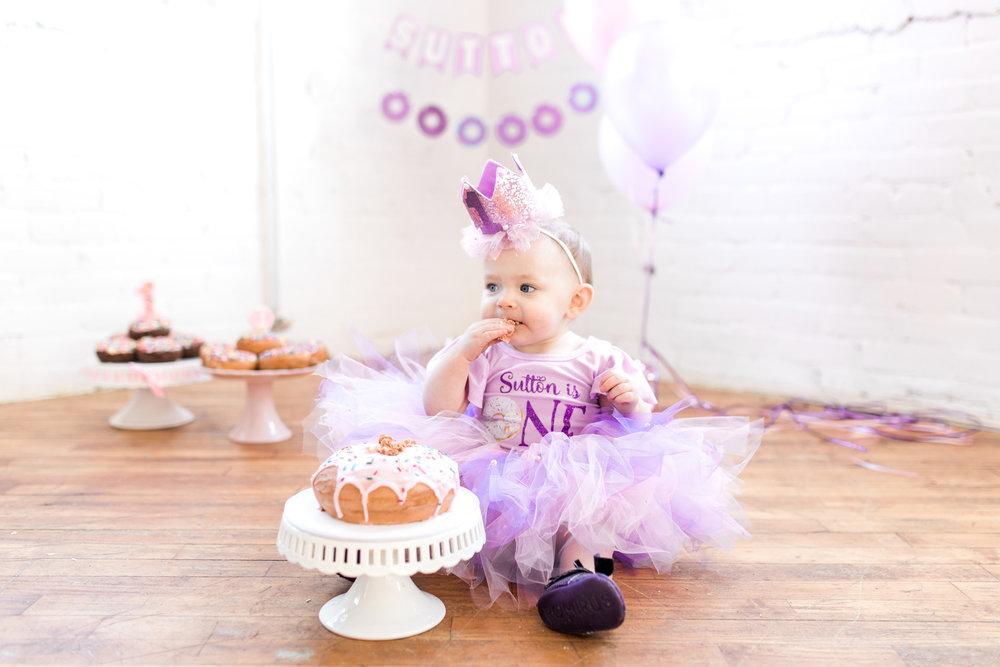 First Birthday Session In Studio | Cake Smash Donut Smash Session | Purple Tutu Skirt Baby Girl