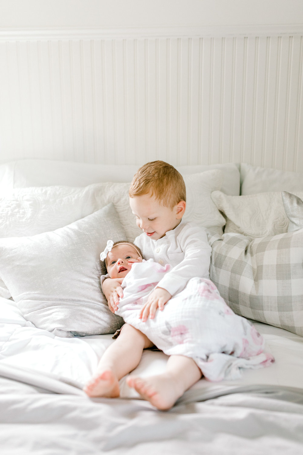 Light & Airy In-Home Newborn Lifestyle Session | Neutral Baby Girl Floral Nursery | Natural Light Lifestyle Session | Laurenda Marie Photography | West Michigan