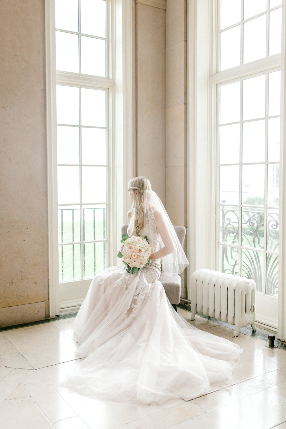 Elegant, Trendy Wedding in Detroit Michigan | Lace Wedding Gown and Royale Blue Tux | Floral Tie | Light & Airy Michigan Wedding Photographer