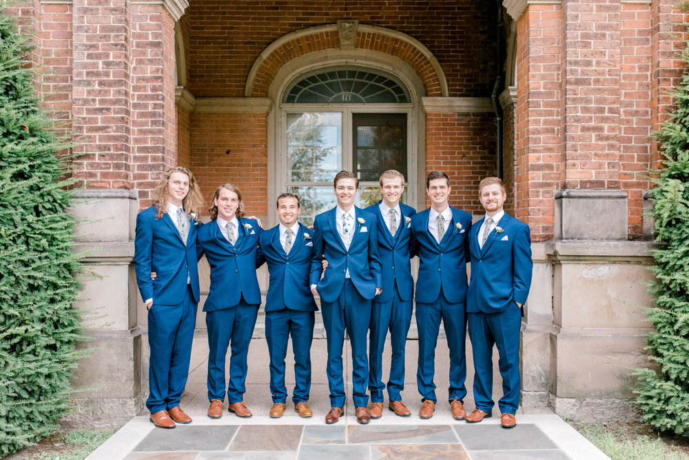 Elegant, Trendy Wedding in Detroit Michigan   Lace Wedding Gown and Royale Blue Tux   Floral Tie   Light & Airy Michigan Wedding Photographer