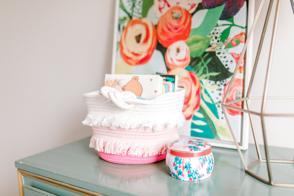 Baby girl in-home lifestyle newborn session | Whimsical colorful nursery | West Michigan Lifestyle Photography