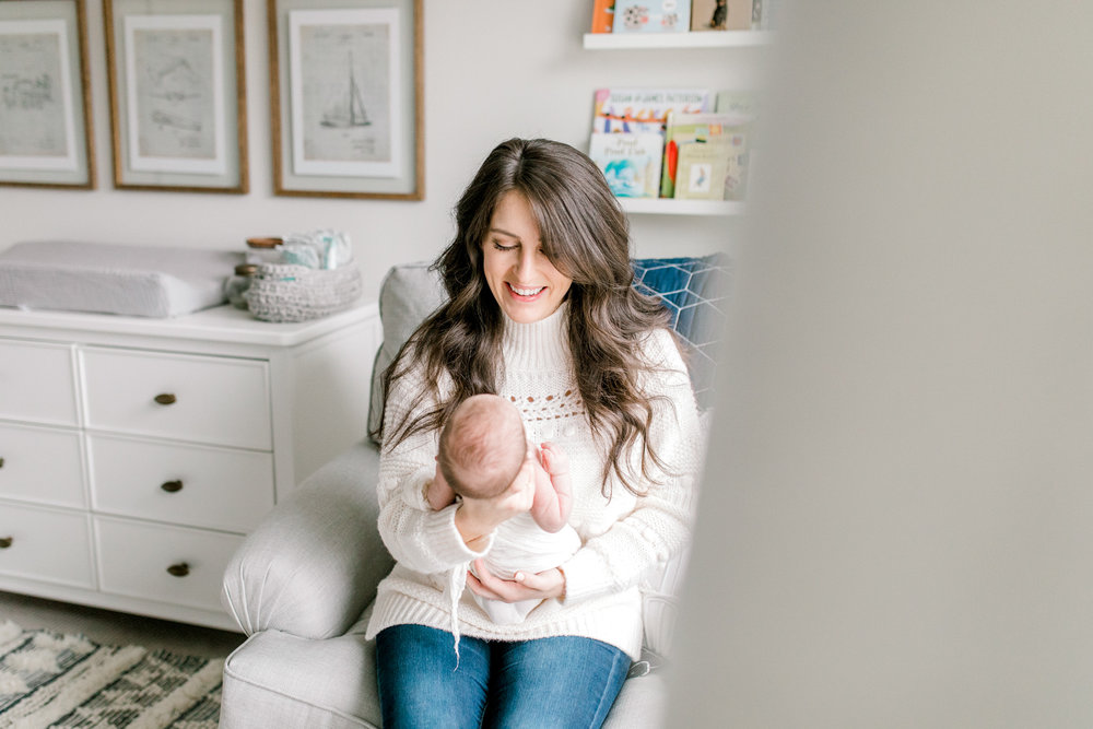 In-Home Newborn Lifestyle Photography | West Michigan Newborn Lifestyle Photographer | Light & Airy Lifestyle Sessions | Michigan Newborn Photographer | Neutral Nautical Baby Boy Nursery