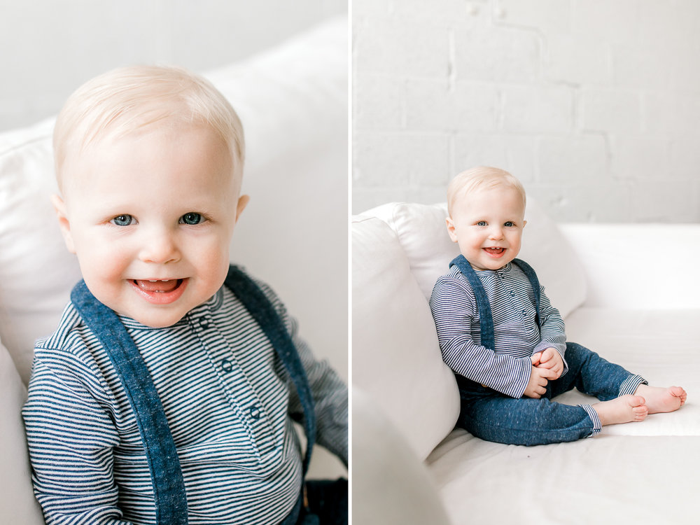 Baby Boy One Year Milestone Session | Natural Light Studio | West Michigan Lifestyle Photography