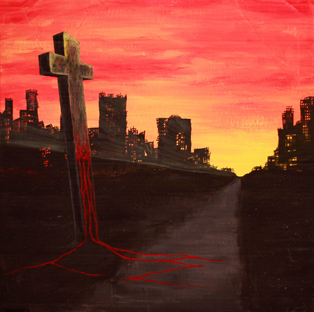 """Tragedies of Christ"". Acrylic on cardboard."