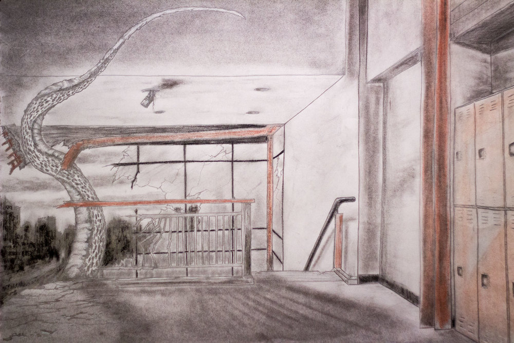 """Schools out"". Pencil, charcoal, conte crayon."