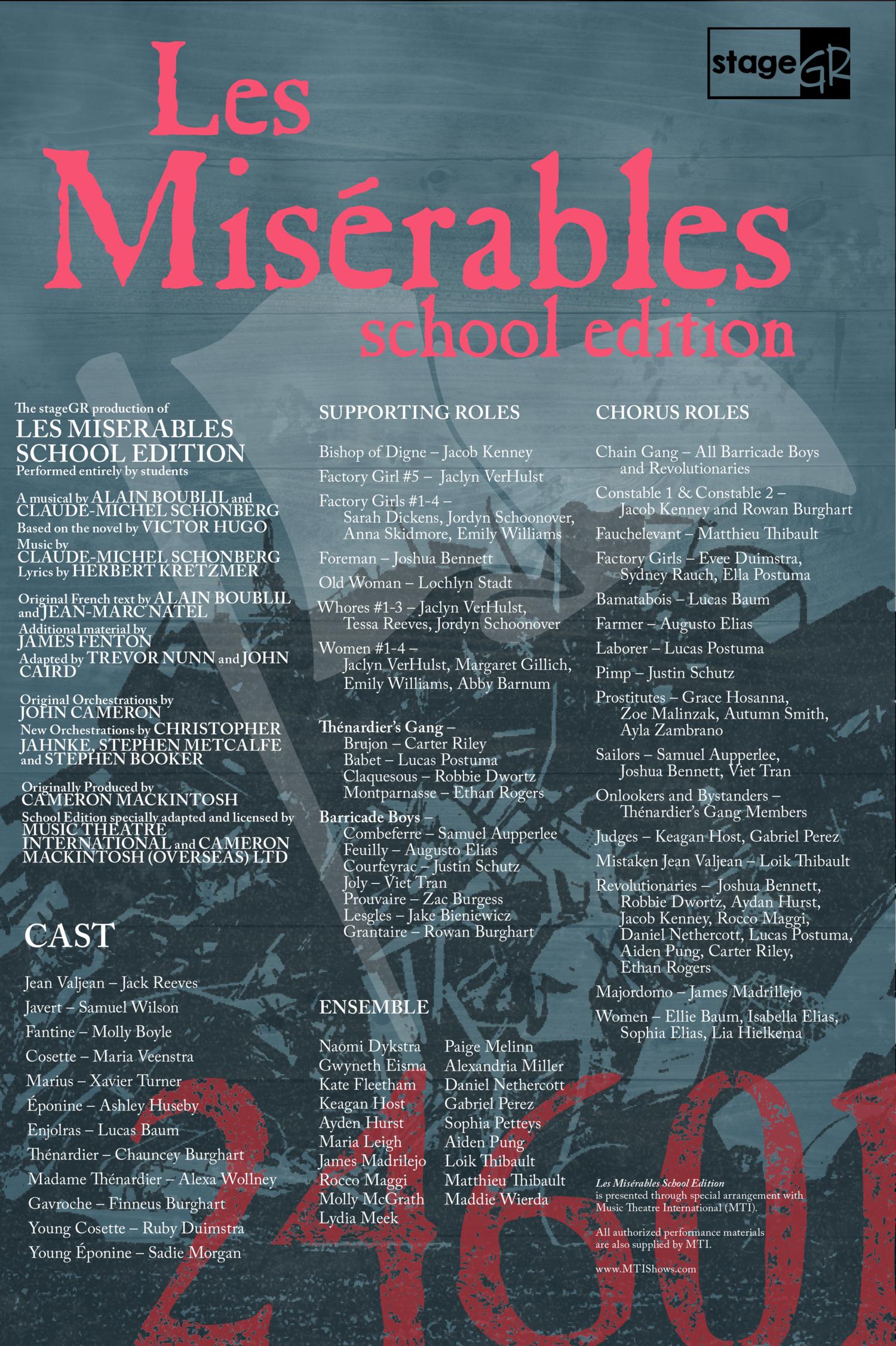 Congratulations to the cast of Les Misérables School Edition