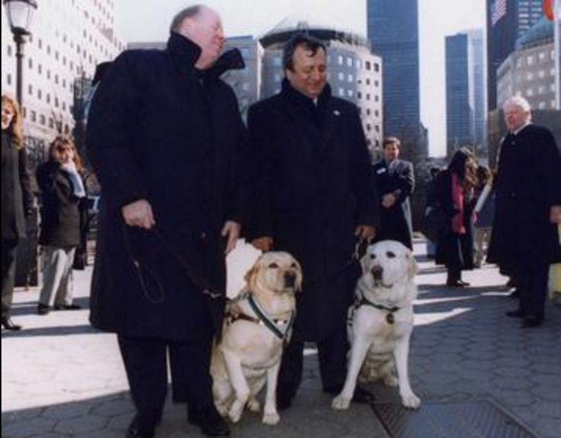 """Roselle with owner Michael Hingson and Omar Rivera with Salty. Salty and Roselle were joint winners of a Dickin Medal for leading their owners out of Tower 1 of the World Trade Centre on September 11."" - Wikipedia"