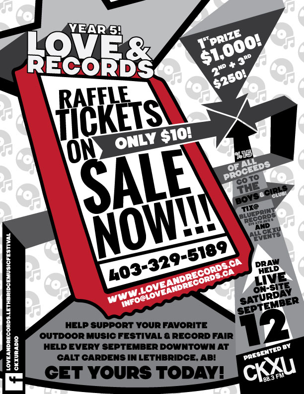 Lr2015 raffle tickets on sale now love records support the boys and girls club of lethbridge 15 of proceeds and your favourite outdoor record fair malvernweather Choice Image