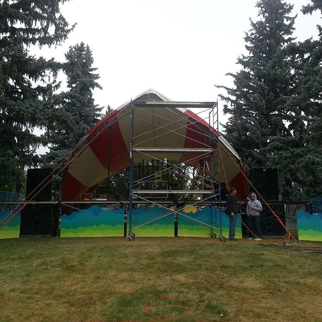 Set up for tomorrow's Love & Records happening now at Galt Gardens in #Lethbridge - see you tomorrow #yql #livemusic #musicfestival #loveandrecords