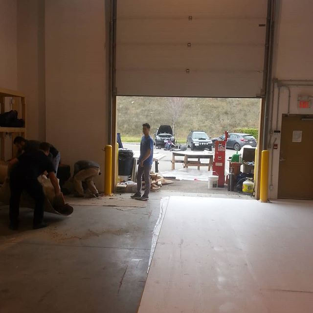 The team is hard at work installing a new plywood floor, courtesy of Tolko mills! Shop improvements can be just as important as actual building!  #fsae #diy #racecar #kelowna #ubc #ubco #shop