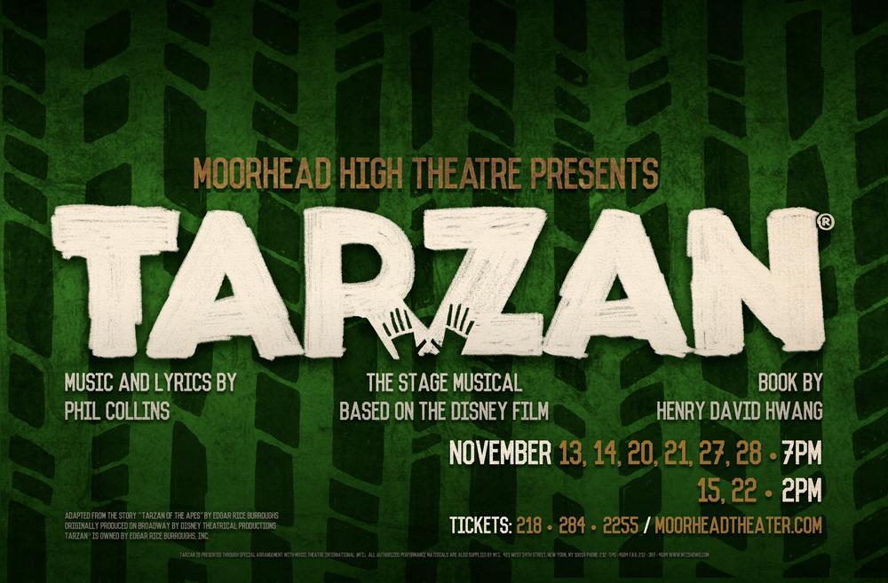 Poster designed for Moorhead High School's 2015 production of  Tarzan .