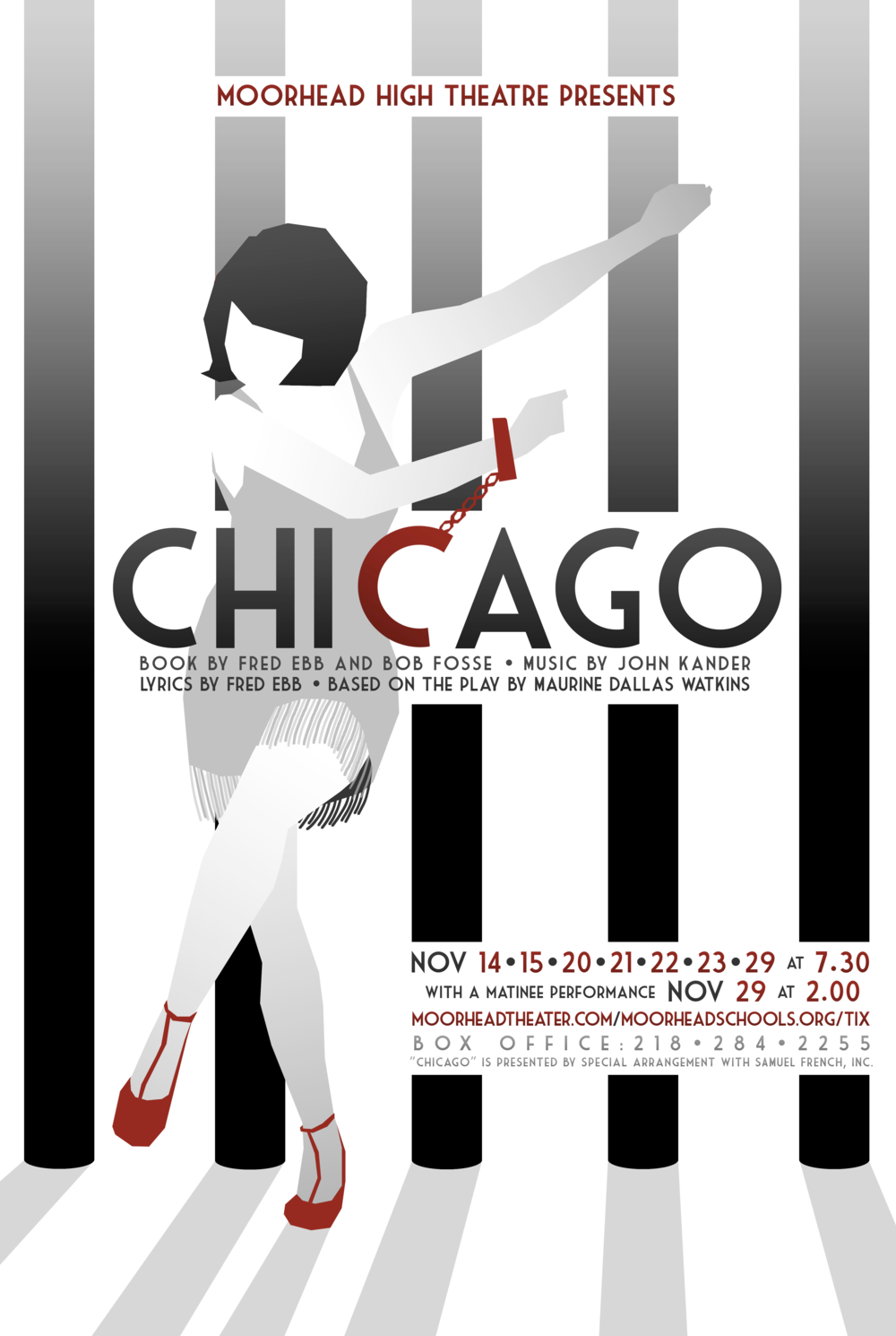 Poster designed for Moorhead High School's 2014 production of  Chicago.