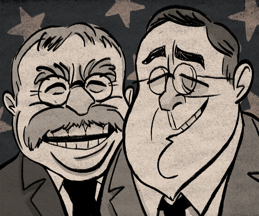 Caricature of Teddy and Franklin Roosevelt.