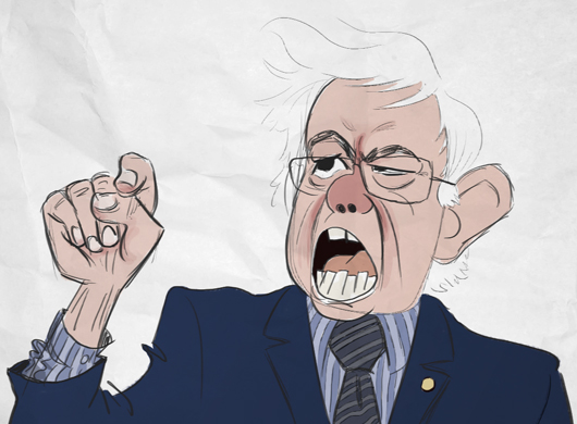 Caricature of Bernie Sanders.