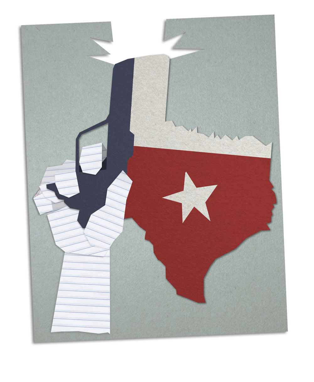 Illustration for the  Daily Trojan;  article on Texas colleges' new concealed-carry laws