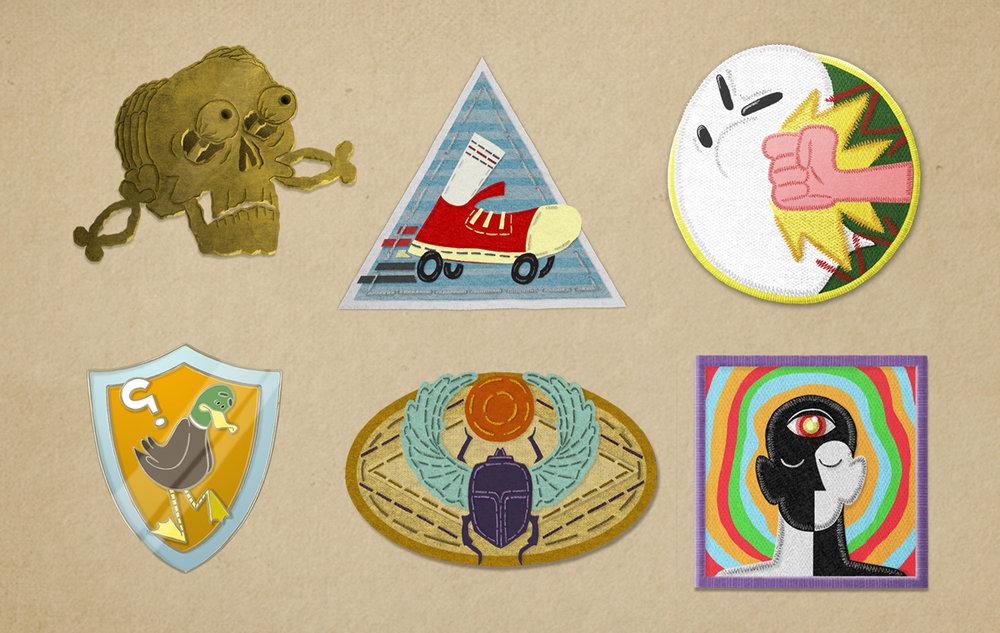 CAMP W badges