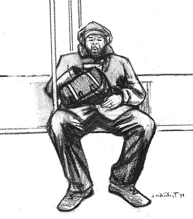 The CTA Giant  #illustration #charcoal #figuredrawing #cta #chicago #drawing #blackandwhite #black #publictransit #sketchbook #sketch #draw