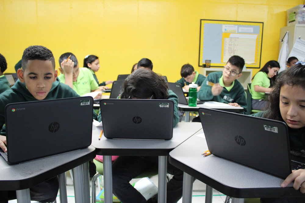 Each student uses a Chromebook for Digital Literacy, Math, and other Content Classes.
