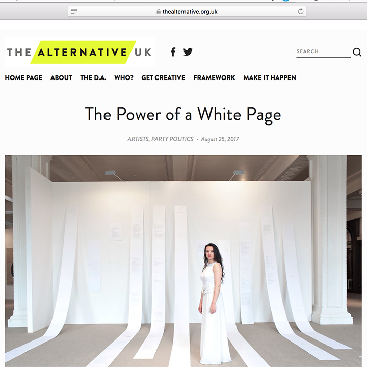 25.08.2017/ Interview    The Alternative UK,   The Power of a White Page.