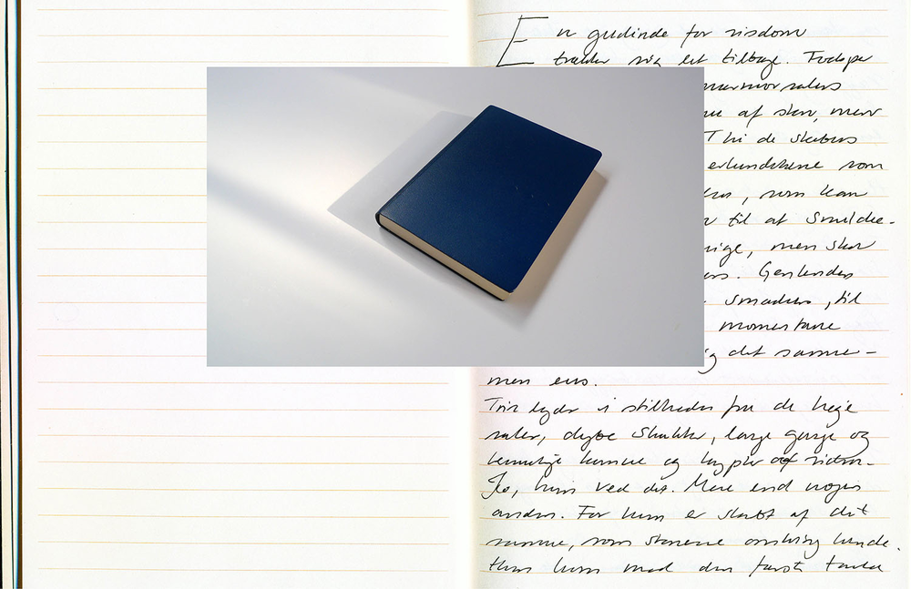 2012, Blue - Ode to Wisdom   Helene Lundbye Petersen,  Blue - Ode to Wisdom,  2012, Calligraphic Manuscript, 294 pages handwritten in China, Lined white paper, blue leather cover. 17 x 12.5 x 1.8 cm.