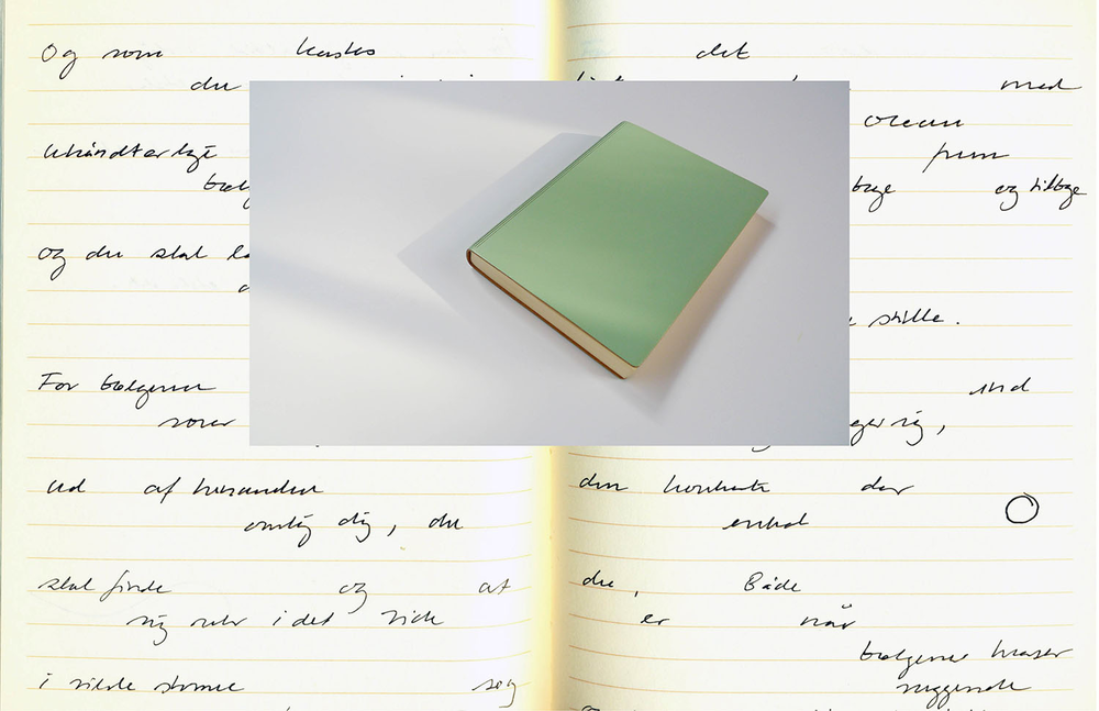 2013, Green - Ode to Love   Helene Lundbye Petersen,  Green - Ode to Love,    2013, Calligraphic Manuscript, 294 pages handwritten in New York., lined white paper, green leather cover. 17 x 12.5 x 1.8 cm.