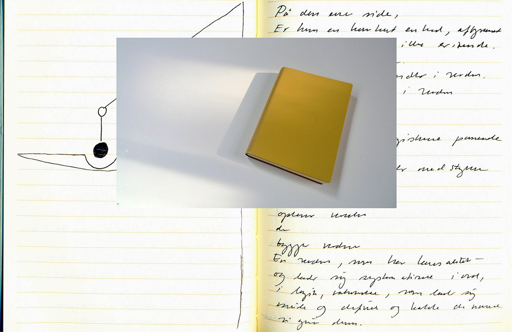 2013, Yellow - Ode to Balance   Helene Lundbye Petersen,      Yellow - Ode to Balance,  2013, Calligraphic Manuscript, 294 pages handwritten in New York. Lined white paper, yellow leather cover. 17 x 12.5 x 1.8 cm.
