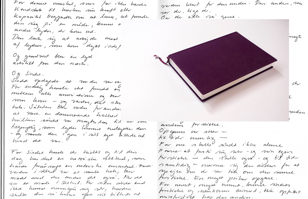 2013, Purple - On Languages   Helene Lundbye Petersen,   Purple - On Languages,   2013, Calligraphic Manuscript, 374 pages handwritten in New York, blank white paper, purple cloth cover. 21.5 x 15.5 x 3 cm.