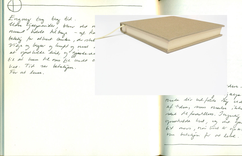 Beige - On Time & Space   Helene Lundbye Petersen,  Beige - On Time & Space,  2015, Calligraphic Manuscript, 200 pages handwritten in Copenhagen, Berlin, Paris and New York. Blank white paper, beige cloth cover. 15 x 15 x 2.2 cm.