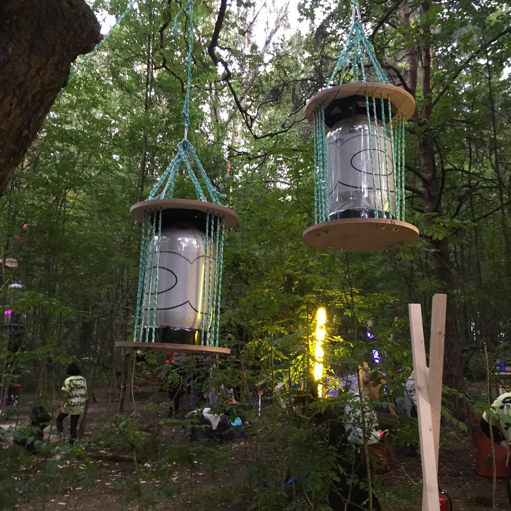 "A RICE BEER WITH BIRCH SAP AND CHAGA MADE FOR PERFORMANCE FESTIVAL ""SOPPEN"". KEGS WERE HUNG IN TREES. (2016)"