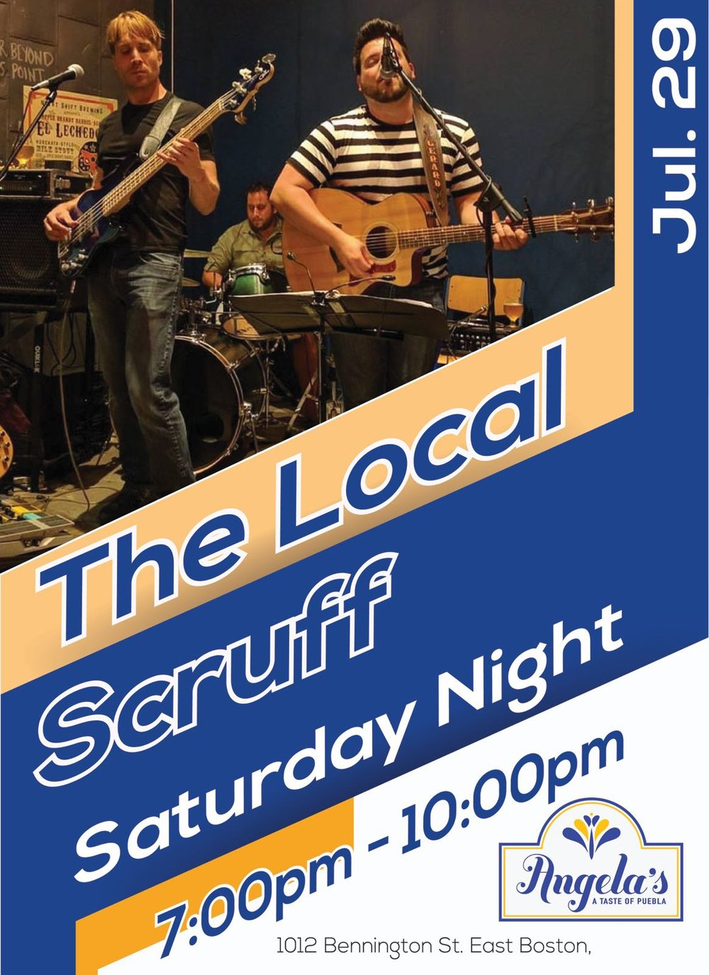 We are... - ...a feel-good band that rocks soulful covers with an authentic,cohesive vibe. Listenable and catchy, our sets have a signature groove. Mix that with our laid-back likeability and we create a fun, lively, and enthusiastic crowd wherever we play. -The Local ScruffYou can find more info at their official website.www.thelocalscruff.comLet's party this July at Angela's Cafe Orient Heights.