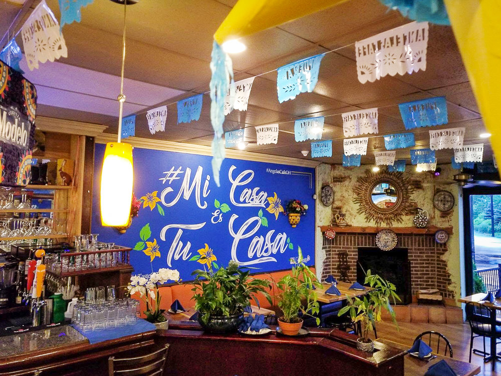 Do you like our new decor? - We really love our new decor and we want to know what you think! We welcome you to take pictures, and especially selfies in front of our new mural. Remember to tag us as @angelascafeorientheights #AngelasCafeOH