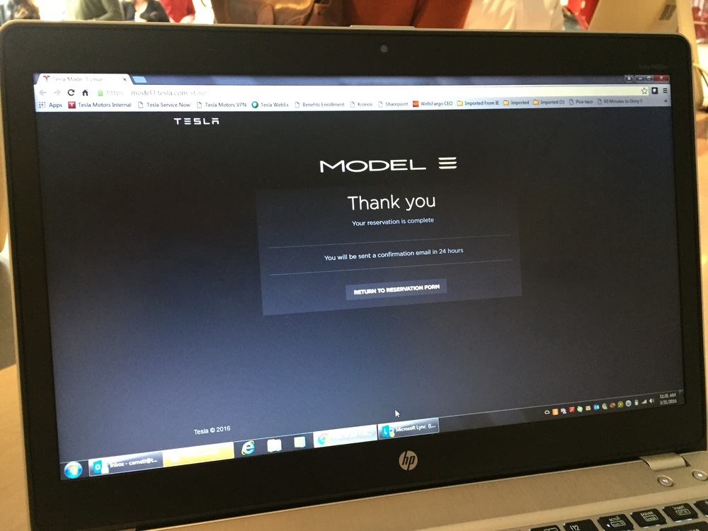 The order screen for eMotion's Tesla Model 3.