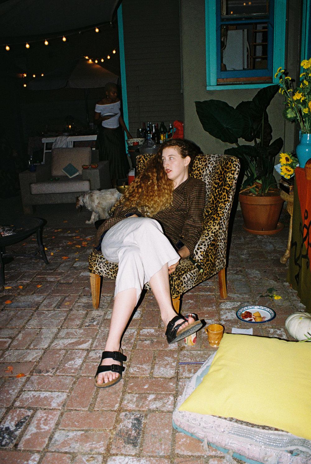 Sara on leopard seat