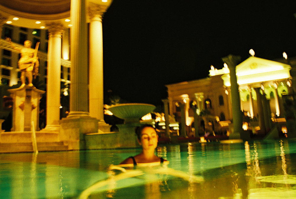 Cara at an empty Caesars Palace pool