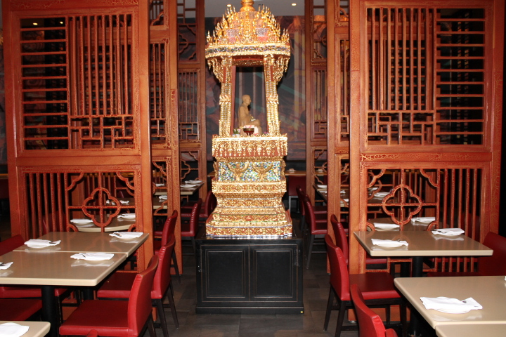Picture of Thai sculpture inside restaurant.