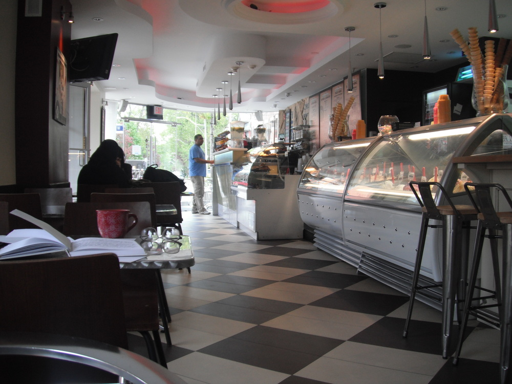 Picture of the accessible interior and the gelato selection.
