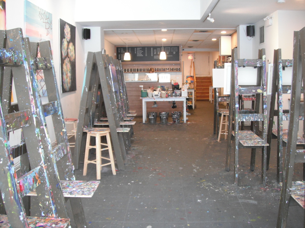 Image of accessible interior with paint easels.