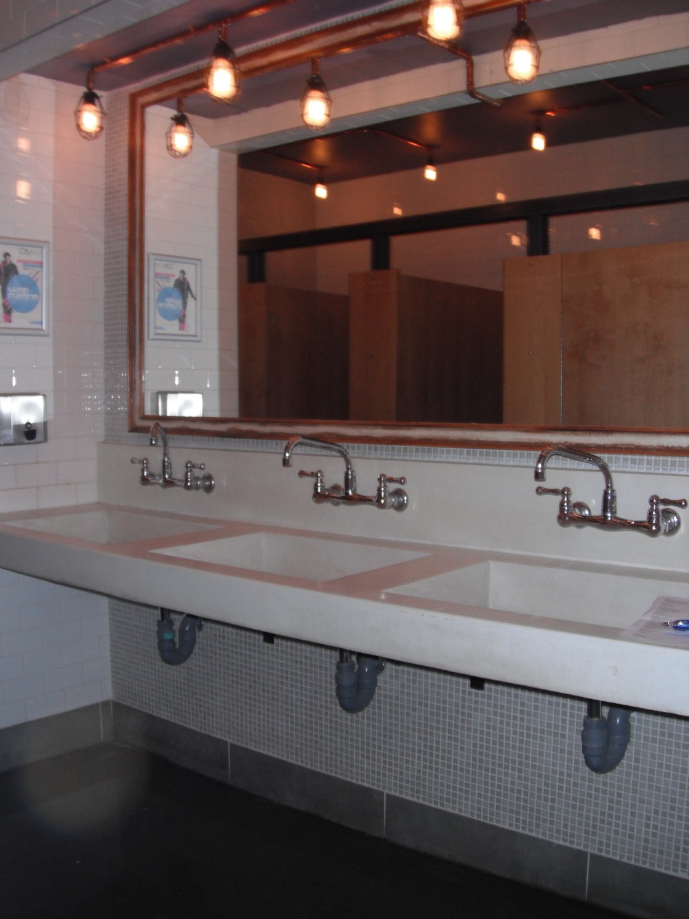 Picture of sinks in accessible washroom.