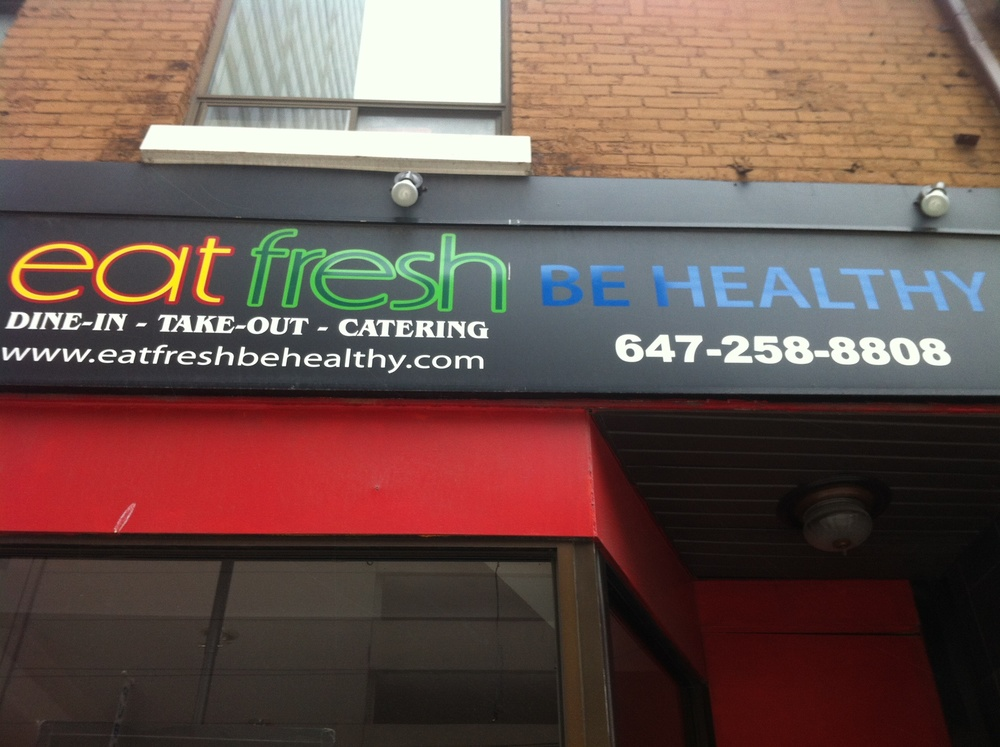 Front signage of EAT Fresh Be Healthy