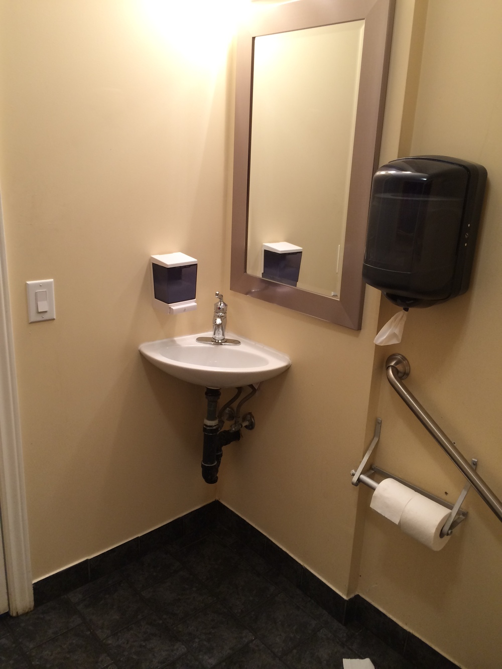 Picture of sink in accessible washroom.