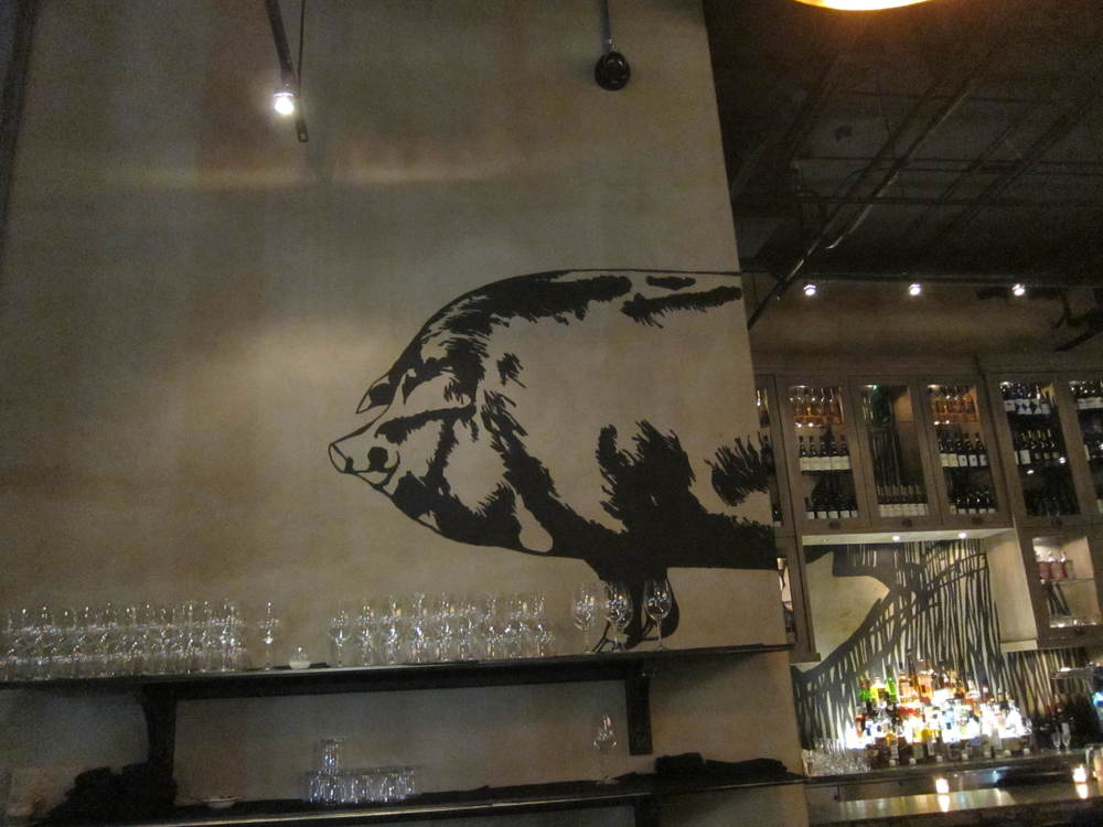 Mural on wall inside the bar