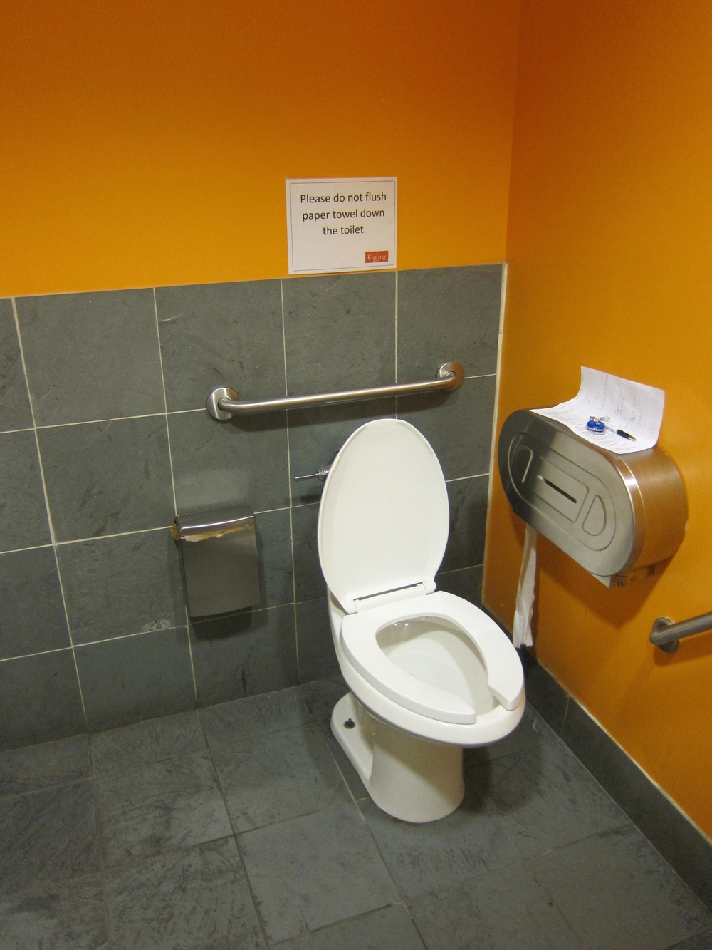 Picture of accessible washroom. Grey tiles.